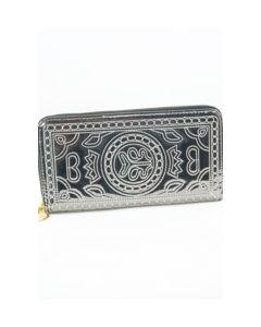 Metallic smokey grijze zip around portemonnee met borduurstiksel