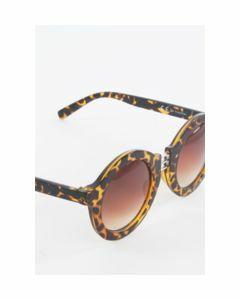 Ronde retro luipaard zonnebril