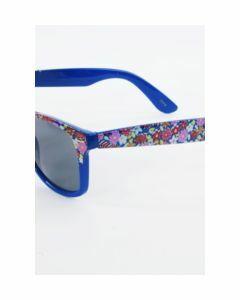 Trendy kobaltblauwe wayfarer-type dameszonnebril met bloemprin