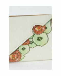 Handgemaakte portemonnee met groente thema