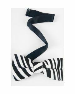 canvas vlinderstrik met zwarte zebra print