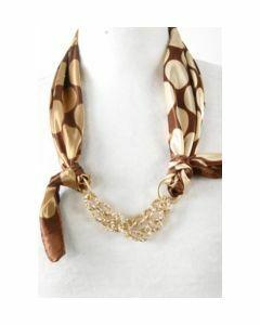 Bruine halsdoek met beige/ivoorkleurige stippenprint
