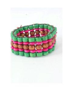Houtenkralen armband in groen, bruin en roze