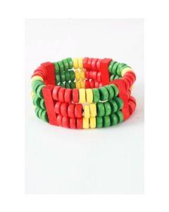 Houtenkralen armband in groen, geel en rood