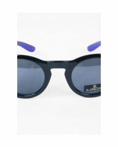 Hippe paarse zwarte retro zonnebril met ronde zwarte glazen
