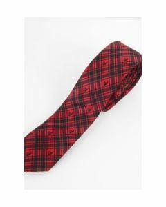 Rode geruite skinny stropdas met skulls