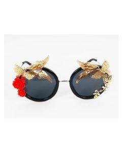 High fashion zonnebril met messing vlinders en bloemen