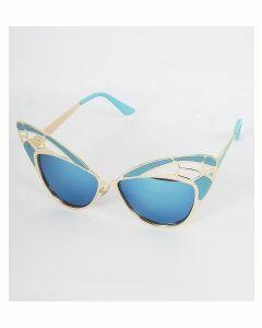 Exclusieve blauwe vrouwenmode zonnebril met metalen art deco