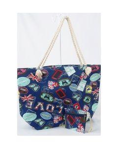 Donkerblauwe strandtas en etui met mixed print
