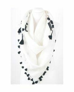 Witte trendy sjaal met ingeweven ruitstructuur