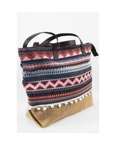 Jute handtas met aztekenmotief in roze, lichtblauw en paars