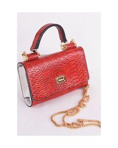 Rode faux croco clutch met vak voor telefoon