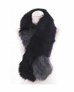 Zwart met grijze faux fur kraag / sjaal