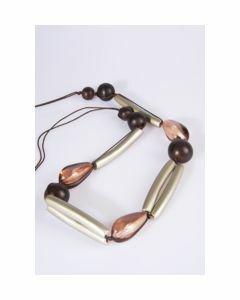 Grijs-bruine houten/glazen halsketting
