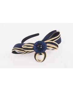 Donkerblauwe diadeem met grote Ascot strik van sinamay