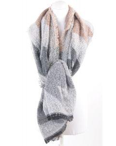Licht grijze bouclé omslagdoek/sjaal met pied de coq