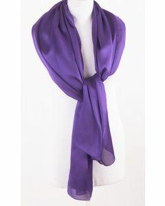 Paarse effen zijden sjaal/stola