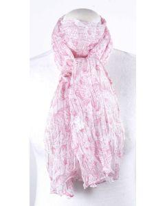 Witte sjaal met roze bloemenprint