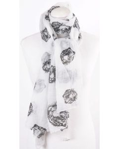 Witte sjaal met tijgerkoppen print