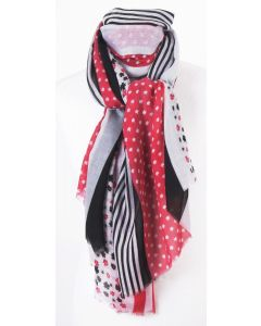 Fuchsia soepelvallende sjaal met diverse prints