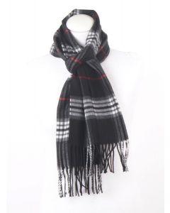 Zwarte ultra zachte sjaal met ruiten