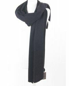 Fijngebreide antracietkleurige cashmere sjaal/omslagdoek