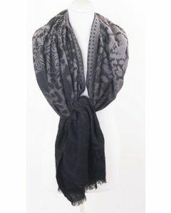 Taupe - zwarte wolblend sjaal met ingeweven patronen