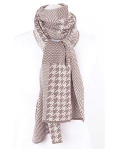 Taupe - beige gebreide sjaal met verschillende patroonvlakken
