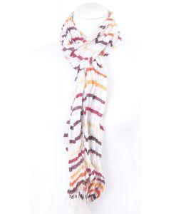 Crushed off white sjaal met bruin/ terra strepen