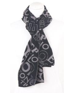 Zwart-grijs gebreide sjaal met letter-dessin