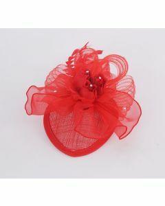 Haarbloem/Corsage in rood met rozen, veertjes en strass