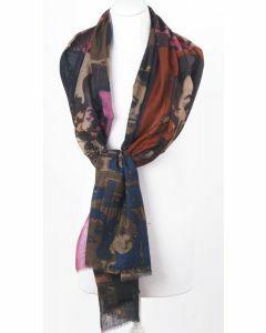 Luchtige wol/zijdeblend sjaal met digitale Marilyn Monroe print