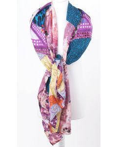 Chiffon zijden patchwork Erfurt sjaal