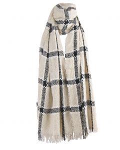 Ecru kleurige bouclé sjaal met ruitpatroon