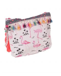 Canvas flamingo etui tasje