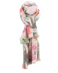 Ecru kasjmiermix sjaal met tropische bloemenprint