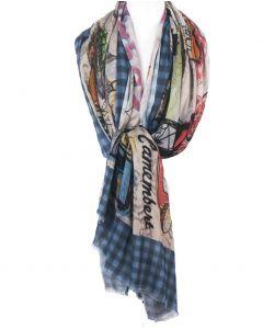 Unieke soepelvallende sjaal met Franse cultuurelementen print