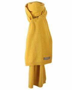 Kasjmier-blend sjaal in licht-okergeel