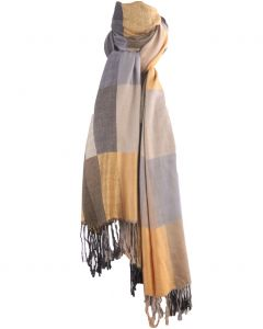 Pashmina sjaal met kleurvlakken in zacht-geel en grijs