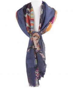 Wollen mousseline sjaal met kleurrijke giraffenprint