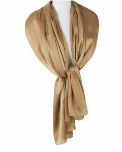 Goudkleurige effen zijden sjaal/stola