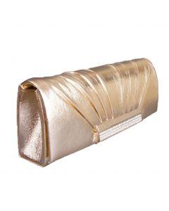 Goudkleurig uitgaanstasje met geplooide voorkant