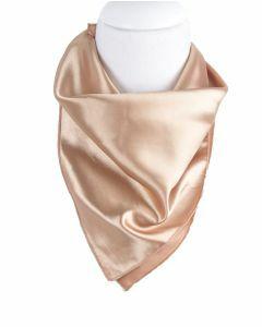 Vierkante satijnen sjaal in de kleur zacht-goud