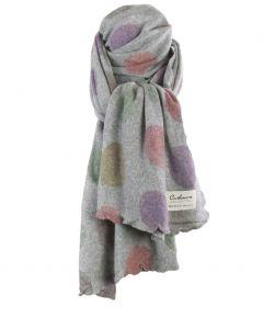 Grijze kasjmiermix sjaal met stippenprint