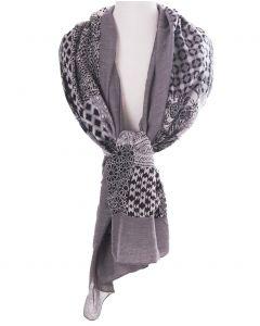 Zijde-blend sjaal met patchwork print