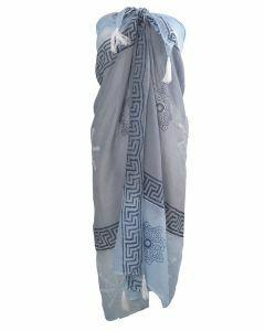 Pareo met mixed design- en kleurverloop in grijs-blauw