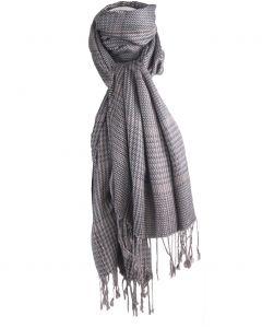 Grijze pashmina sjaal met beige ruit