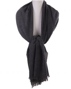 Donkergrijze stola/sjaal van 100% kasjmier