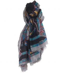 Grote grijze sjaal met klassieke koorden en riemen print