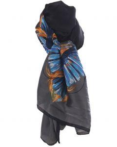 Zijden sjaal in zwart en grijs